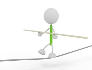 綱渡りするキャラクターのイラスト素材 [FYI03412674]