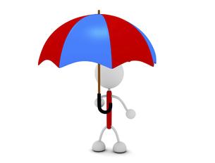 傘をさすキャラクターのイラスト素材 [FYI03412679]
