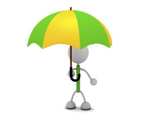 傘をさすキャラクターのイラスト素材 [FYI03412680]