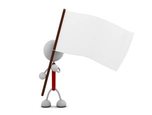 白旗を持つキャラクターのイラスト素材 [FYI03412685]
