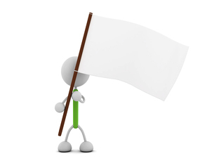 白旗を持つキャラクターのイラスト素材 [FYI03412686]