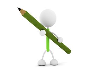 鉛筆を持つキャラクターのイラスト素材 [FYI03412694]