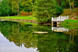 エストニア・北部にある18世紀の建物でエストニアで最も早く修復された領主の館のパルムセの館(現在は公園の情報センターや博物館として使用)の敷地内にある池と橋の映り込みの写真素材 [FYI03414696]