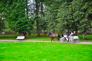 エストニア・北部にある18世紀の建物でエストニアで最も早く修復された領主の館のパルムセの館(現在は公園の情報センターや博物館として使用)本館前の庭園を巡る観光馬車の写真素材 [FYI03414707]