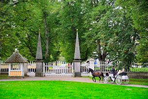 エストニア・北部にある18世紀の建物でエストニアで最も早く修復された領主の館のパルムセの館(現在は公園の情報センターや博物館として使用)本館前の庭園を巡る観光馬車の写真素材 [FYI03414709]