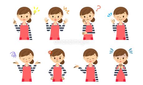 主婦の色々な表情セット 上半身のイラスト素材 [FYI03414878]