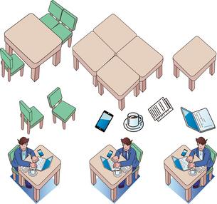 シェアオフィスと人物と道具や家具のイラスト素材 [FYI03415006]