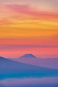 伊那丸富士見台から望む朝焼けの富士山と雲海の写真素材 [FYI03415050]