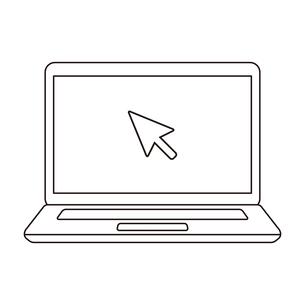 ノートパソコンクリックカーソルの線画アイコンイラスト素材のイラスト素材 [FYI03415073]