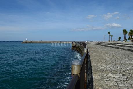 防波堤の灯台と海沿いの遊歩道の写真素材 [FYI03415102]