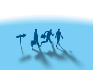 矢印の指示に従って進むビジネス男女3人のイラスト素材 [FYI03415537]