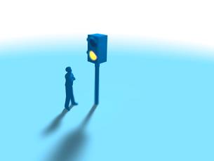 腕組みしながら赤信号を眺める1人の男性のイラスト素材 [FYI03415553]
