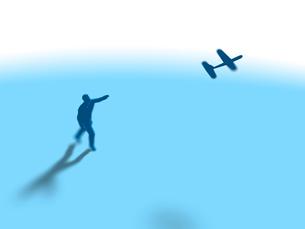 紙飛行機を飛ばす1人の男性のイラスト素材 [FYI03415556]