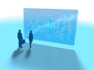 株価進捗を示すGUIパネルを眺めるビジネス男女2人のイラスト素材 [FYI03415574]