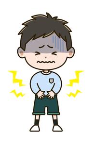 腹痛 男の子 ポーズ イラストのイラスト素材 [FYI03415632]