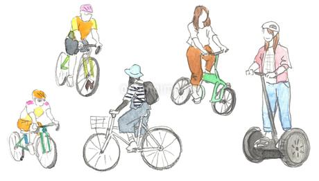 スケッチ風 自転車4点セット+おまけ(セグウェイ)のイラスト素材 [FYI03416103]