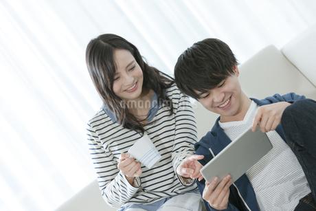 タブレットPCを見るカップルの写真素材 [FYI03416664]