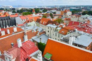 エストニア・タリン旧市街の旧市庁舎の塔から見た色々カラフルな建物見える旧市街と遠くに見える新市街・旧市街は世界遺産の写真素材 [FYI03416742]