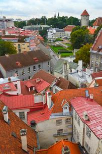 エストニア・タリン旧市街の旧市庁舎の塔から見た色々カラフルな建物と赤い屋根の旧市街・旧市街は世界遺産の写真素材 [FYI03416747]