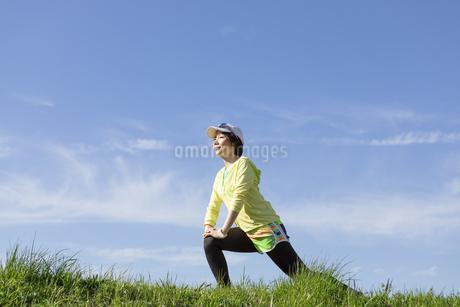 ストレッチをする女性の写真素材 [FYI03416863]