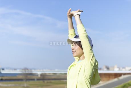 ストレッチをする女性の写真素材 [FYI03416889]
