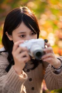 カメラを構える女性の写真素材 [FYI03416963]