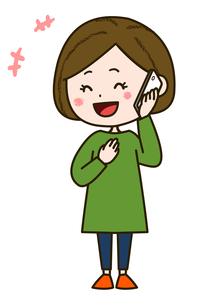 笑顔で電話をする女性 ポーズ イラストのイラスト素材 [FYI03417519]