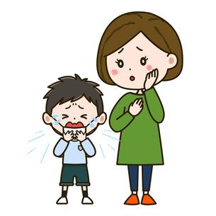 風邪をひいた男の子と心配そうな母親 イラストのイラスト素材 [FYI03417525]