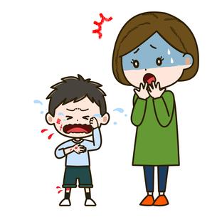 けがをした男の子と心配そうな母親 イラストのイラスト素材 [FYI03417529]