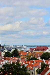 コフトゥ展望台から見たエストニア・タリン世界遺産の旧市街の中世的な建物が並ぶ景観・旧市街は世界遺産の写真素材 [FYI03417533]