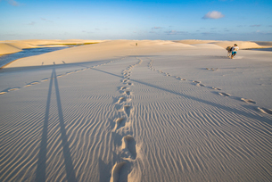 レンソイス砂漠での夕方の人影の写真素材 [FYI03417592]