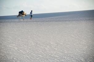 レンソイス砂漠を歩く人と風紋模様の写真素材 [FYI03417786]