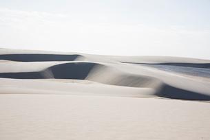 レンソイス砂漠の白い砂丘と湖の写真素材 [FYI03417794]