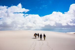 レンソイス砂漠の砂丘を歩くの写真素材 [FYI03417804]