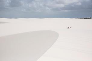 レンソイス砂漠を歩く小さな人影の写真素材 [FYI03417812]