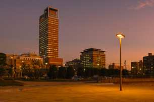 夕方の高松港から見るシンボルタワーの様子の写真素材 [FYI03417895]