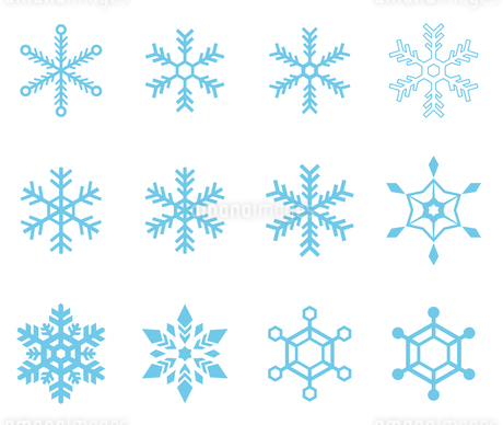 雪の結晶アイコンセット のイラスト素材 [FYI03417907]