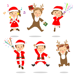 クリスマス 子供たち ジャンプのイラスト素材 [FYI03418266]