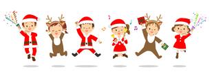 クリスマス 並ぶ子供たち ジャンプのイラスト素材 [FYI03418267]