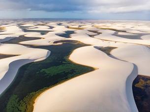 レンソイス砂漠の空撮:夕日の写真素材 [FYI03418560]