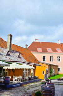 エストニア・タリン世界遺産の旧市街の中世風のカラフルな建物が並ぶレストラン前に並ぶ樽・旧市街は世界遺産の写真素材 [FYI03419276]