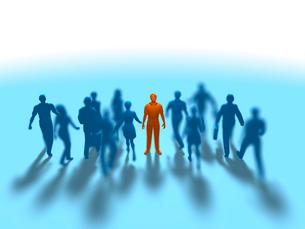 進む集団をよそに立ち止まる1人の赤い男性のイラスト素材 [FYI03419278]