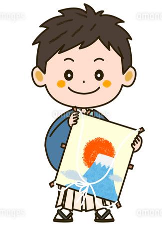 凧を持った着物姿の男の子 イラストのイラスト素材 [FYI03419446]