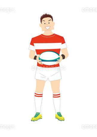 ラグビーボールを持つラグビー選手のイラスト素材 [FYI03420036]