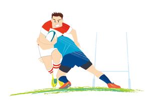 試合をするラグビー選手のイラスト素材 [FYI03420038]