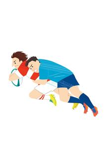試合をするラグビー選手のイラスト素材 [FYI03420041]