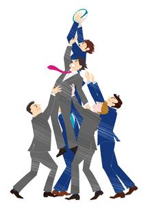 ラグビーをするビジネスマンとラグビータワーのイラスト素材 [FYI03420046]