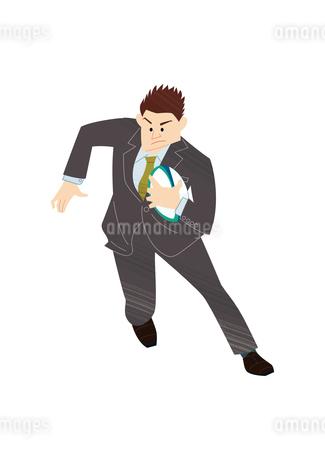 ラグビーをするビジネスマンのイラスト素材 [FYI03420047]