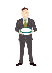 ラグビーボールを持つビジネスマンのイラスト素材 [FYI03420063]