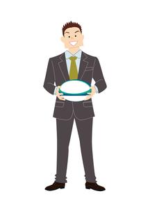 ラグビーボールを持つビジネスマンのイラスト素材 [FYI03420064]